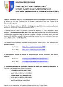 Révision du PLU : enquête publique