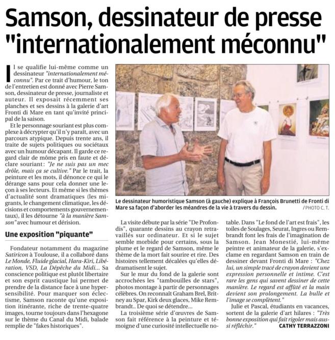 Article Corse-Matin paru à l'occasion de l'exposition de Samson à la galerie Fronti di Mare à Propriano