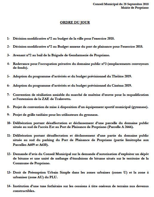 Réunion du conseil municipal du 28 septembre 2018
