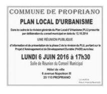 Révision du PLU - phase 2 : Réunion publique