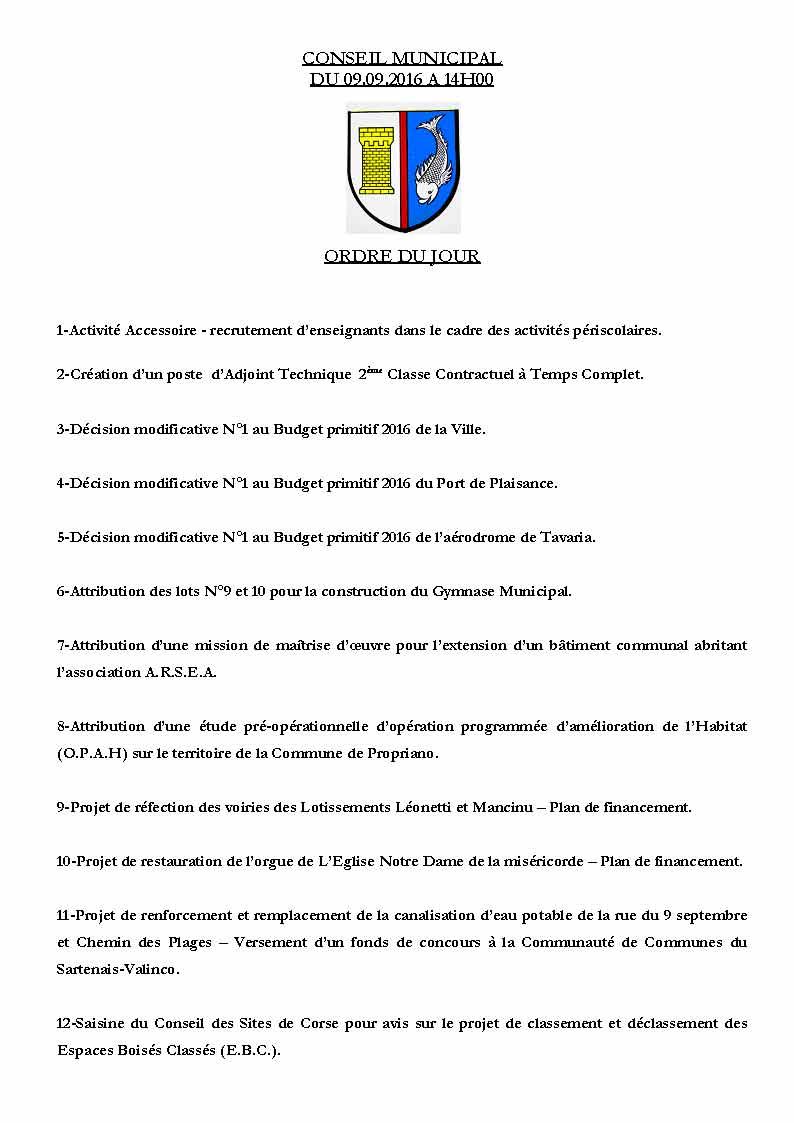 Réunion du conseil municipal du 9 septembre 2016