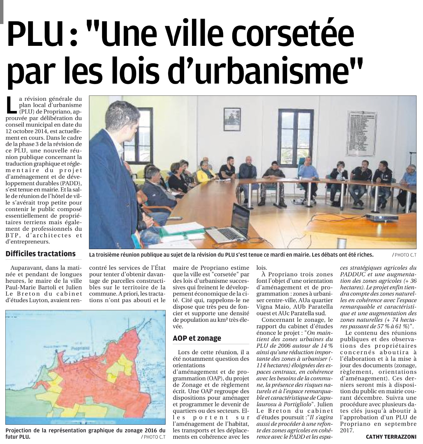 Article Corse Matin du 25 novembre 2016