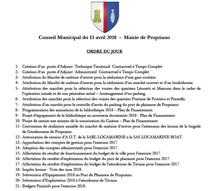 Réunion du conseil municipal du 13 avril 2018