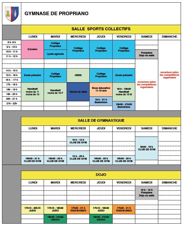Planning des entrainements au gymnase de Propriano