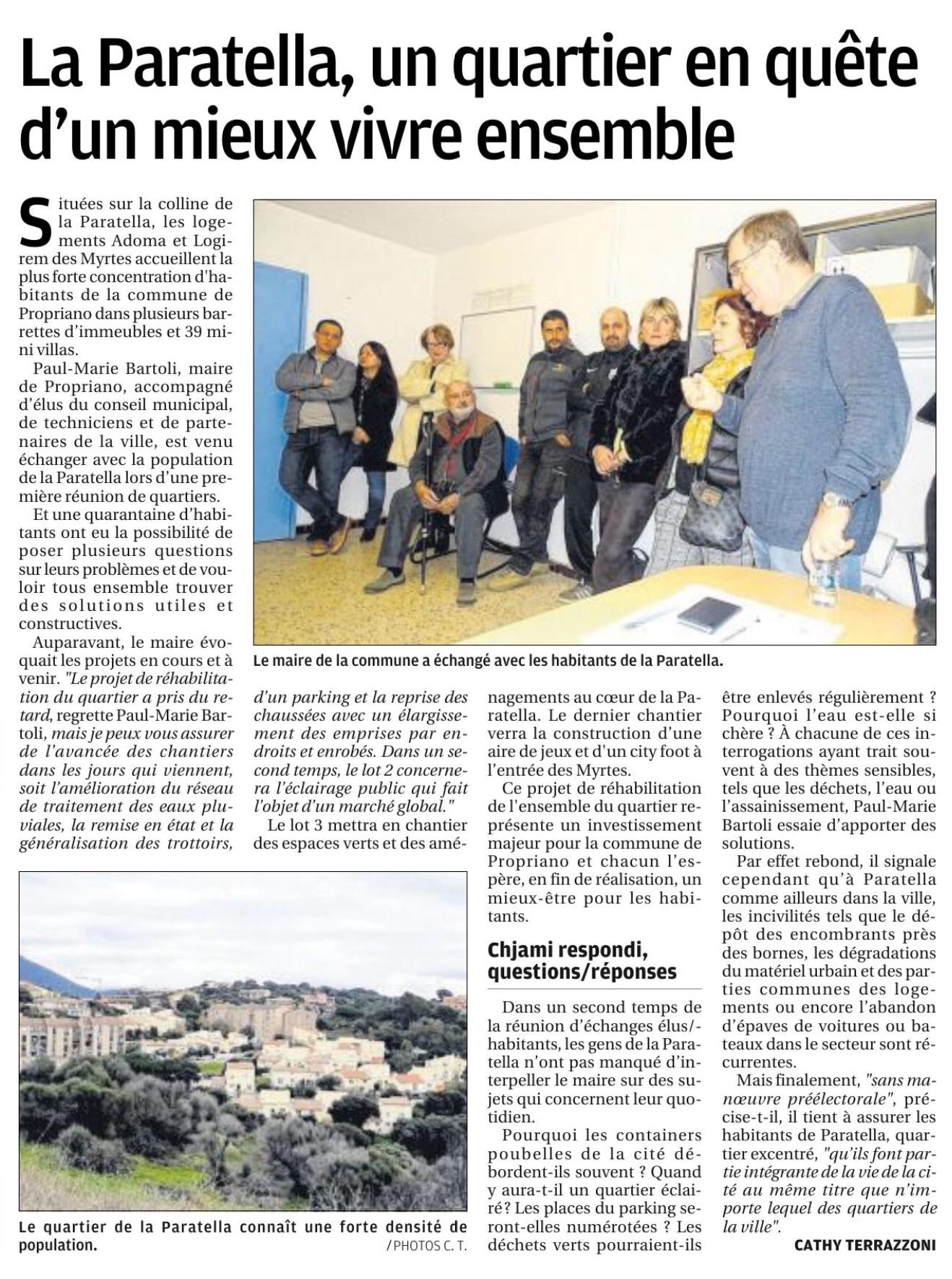 Réunion de quartier du 08/02 - Article Corse Matin 15/02/2019