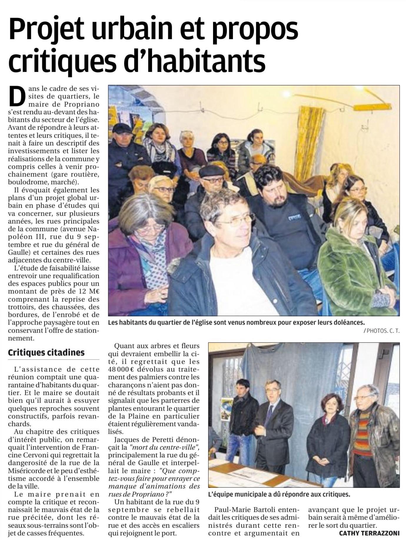 Réunion de quartier du 09/02 - Article Corse Matin 17/02/2019
