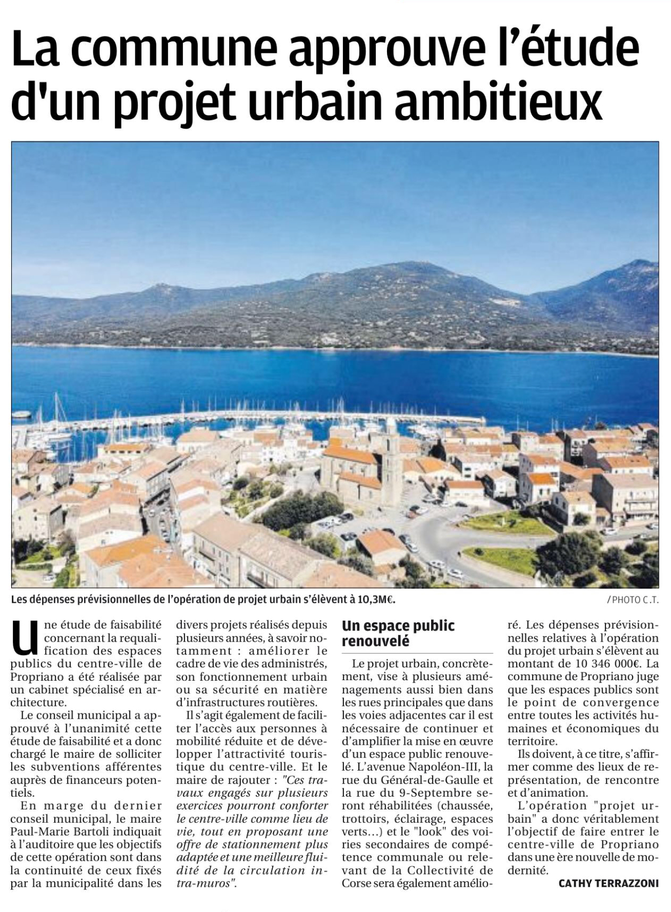 Un projet de renouvellement urbain pour Propriano