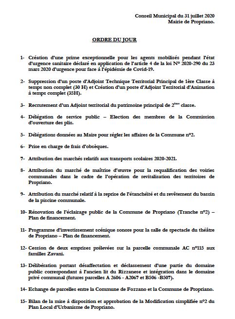 Réunion du conseil municipal du 31 juillet 2020