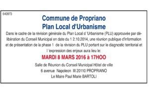 Réunion publique : Révision du PLU