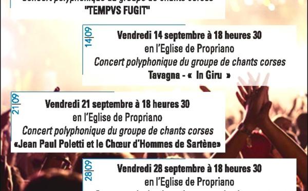 Septembre : Concerts en l'église de Propriano