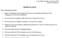 Réunion du conseil municipal du 1er décembre 2017 - 14h00