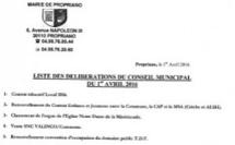 Réunion du conseil municipal du 1er avril 2016